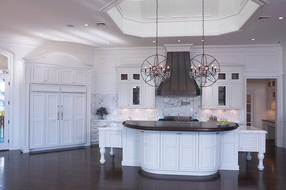 Crystal Cabinetry Beautiful Long Island Kitchen White with black granite island