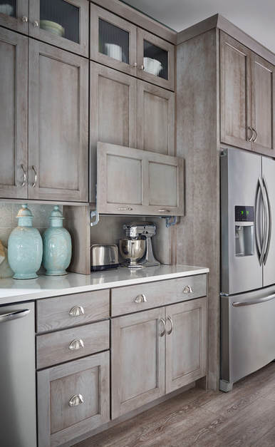 Vertical Lift Kitchen Cabinet Doors, Appliance Garage by Medallion Cabinetry and Lakeville Kitchen and Bath