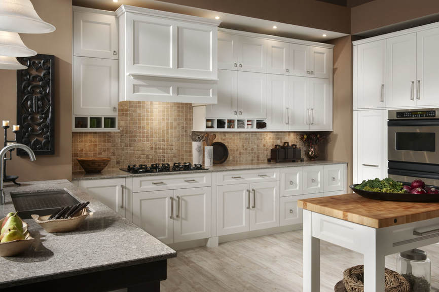 White Shaker Kitchen by Medallion Cabinetry and Lakeville Kitchen and Bath