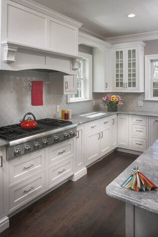Medallion Platinum Inset Cabinets White Icing Classic Paint & Cherry Peppercorn Gray Island